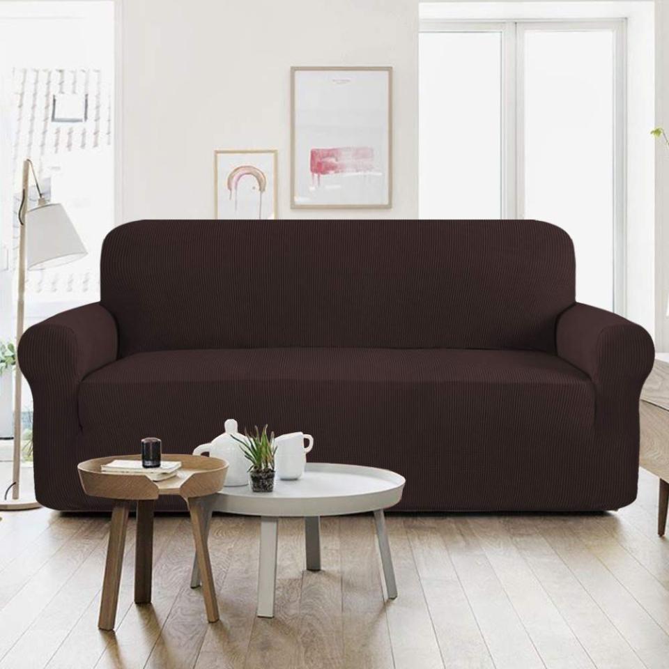5 Seater Jersey Sofa Cover - Dark Brown