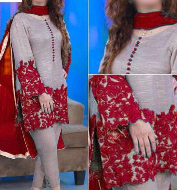 (PAKISTAN DAY SALE) Embroidered Silk Dress with Chiffon Dupatta (CHI-262) (Unstitched)