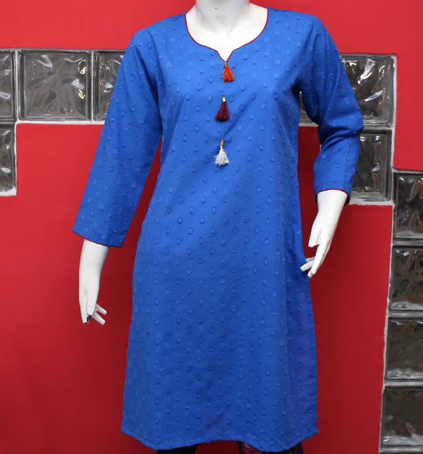 Women Blue Printed Lawn Kurti (EK-123) (Stitched)