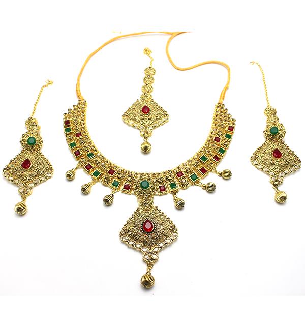 Bridal Heavy Beautiful Stylish Golden Jewelry Set Ps 104 Price