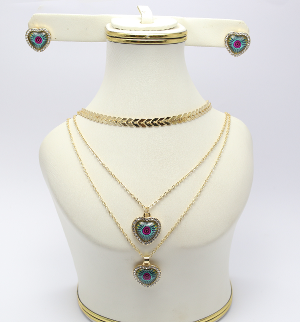 Delicate Heart Shaped Necklace with Earrings (PS-129)