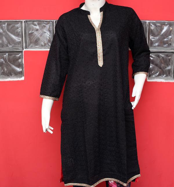 Eid Black Chikan Neck Embroidery Kurtis (stitched) (EK-129)