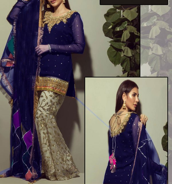 9d4bfb8de3c733 Embroidered Chiffon Dress Embroidered Trouser (CHI-235) (Unstitched)