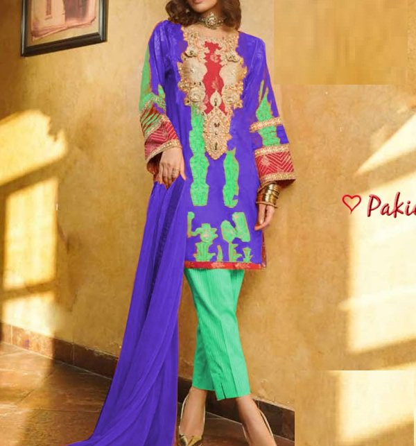 Embroidered Lawn Dress With Chiffon Dupatta (DRL-401) (Unstitched)
