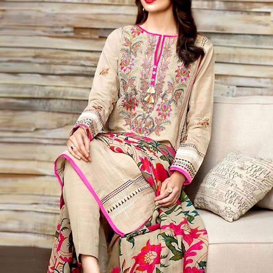 Embroidered Lawn Dress with Chiffon Dupatta - (DRL-426) (UnStitched)