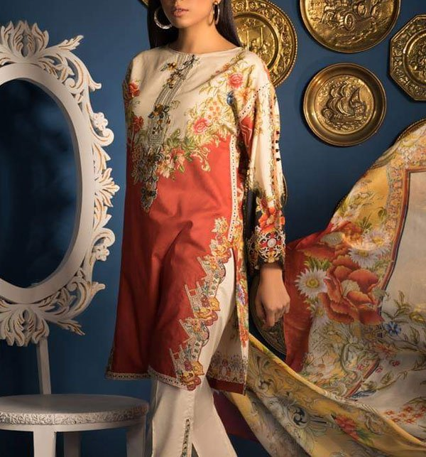 Embroidered Lawn Suit with Chiffon Dupatta (DRL-321) (Unstitched)
