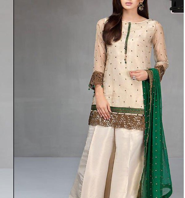 SALE SALE Embroidered Masoori Dress With Chiffon Dupatta (CHI-184)