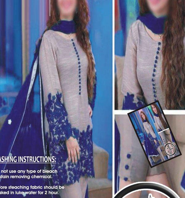 Embroidered Silk Dress with Chiffon Dupatta (CHI-260) (Unstitched)