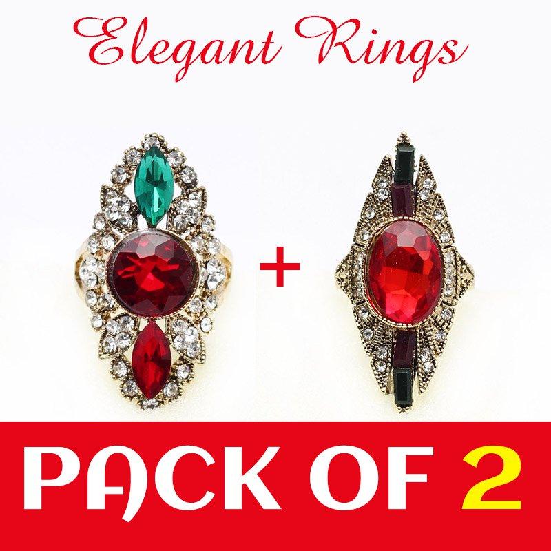 Pack of 2 Gold & Diamond Look Ring (RH-01)