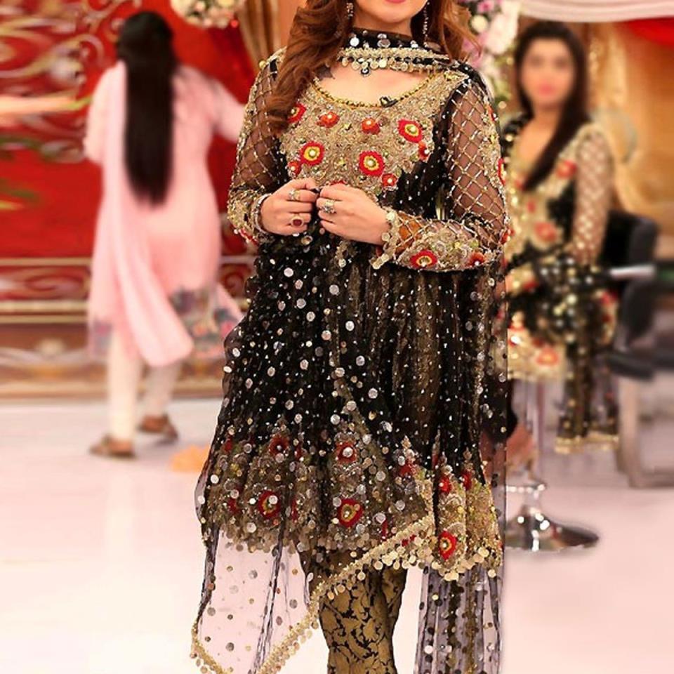 Heavy Embroidered Black Chiffon Wedding Dress - (CHI-328)