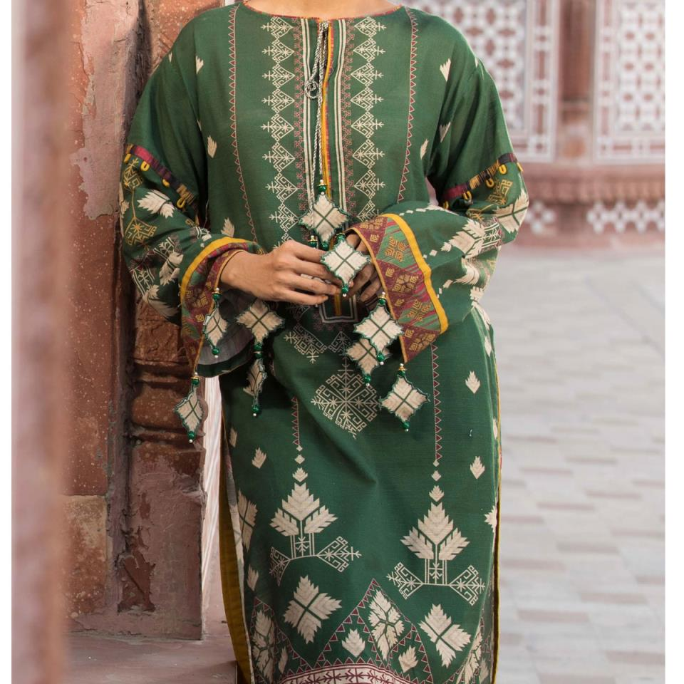 Heavy Embroidered Lawn Suit with Chiffon Dupatta (DRL-440) (Unstitched)