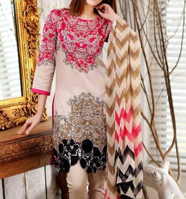 Heavy Embroidered Linen Dress with Wool Shawl Dupatta  (LN-83) (Unstitched)