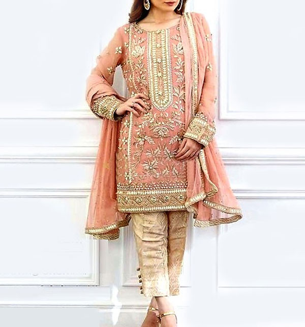 Heavy Embroidered Masoori Net Dress with Jamawar Trouser (CHI-278) (Unstitched)