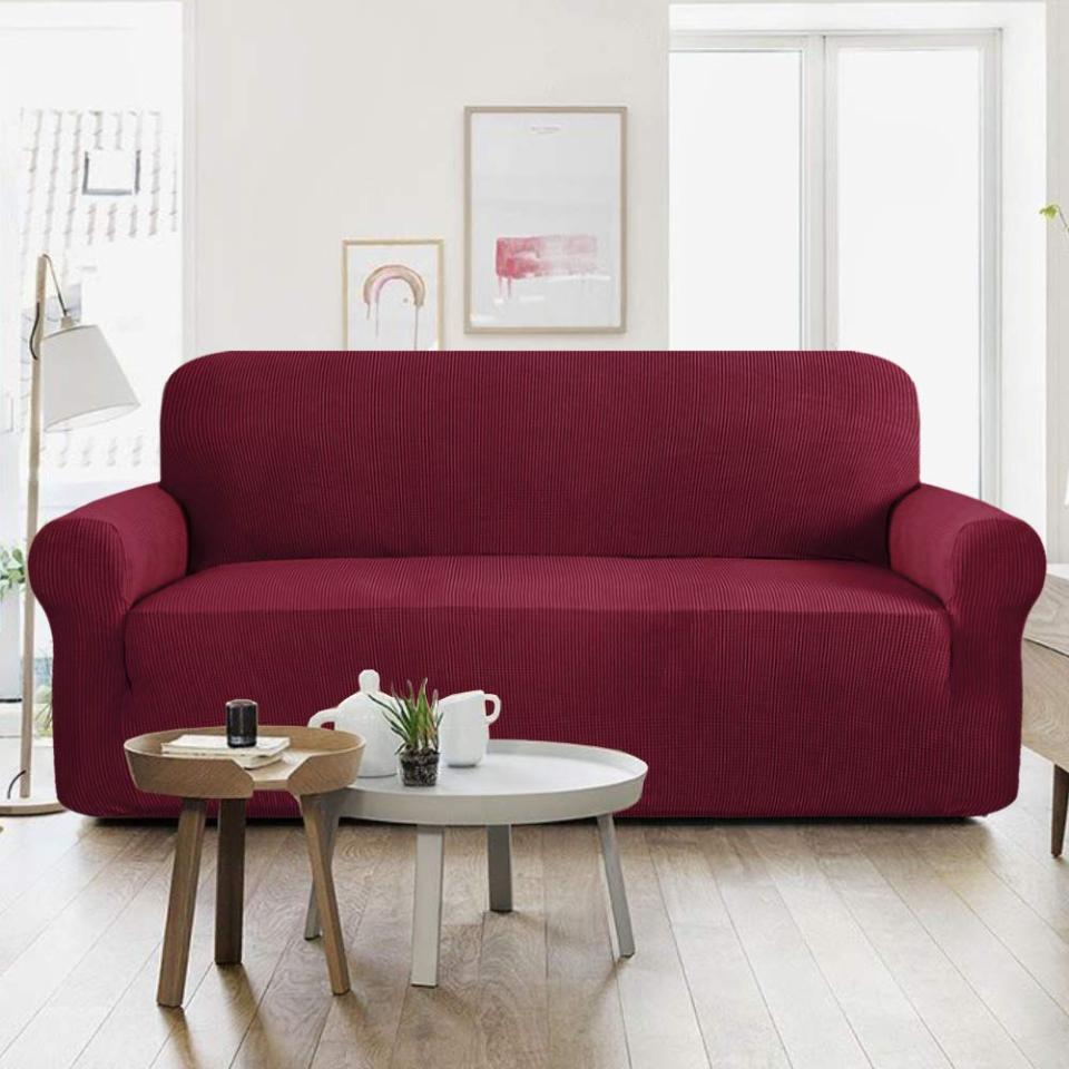 Jersey Sofa Covers Protector Slipcover - 5 Seater - Maroon