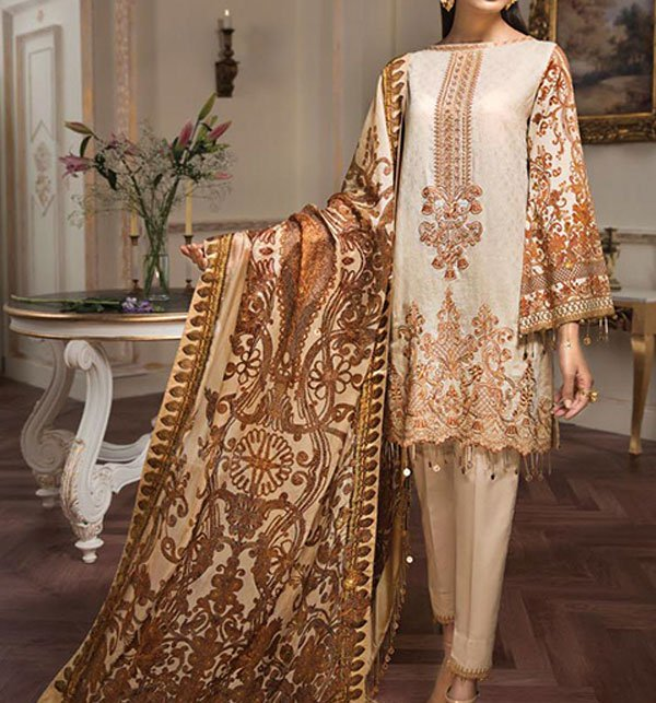 Khaddar Embroidery Suit With Wool Shawl Dupatta (Unstitched) (KD-39)