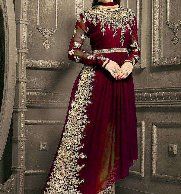 Latest Party Wear Chiffon Embroidered Dress (Unstitched) (CHI-261)