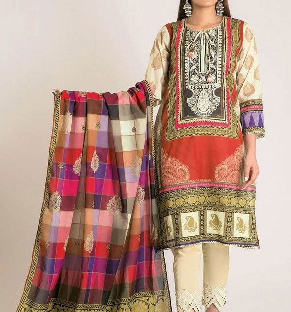 Linen Embroidered Suit With Wool Shawl (LN-52)