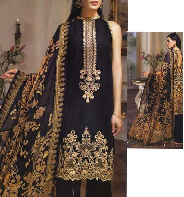 Khaddar Neck Embroidery Suit With Wool Dupatta (KD-40) (UnStitched)