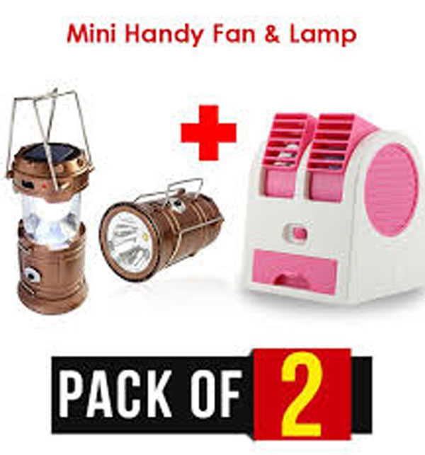 Pack of 2 Mini Portable Fan & Portable Solar Charging LED Lamp