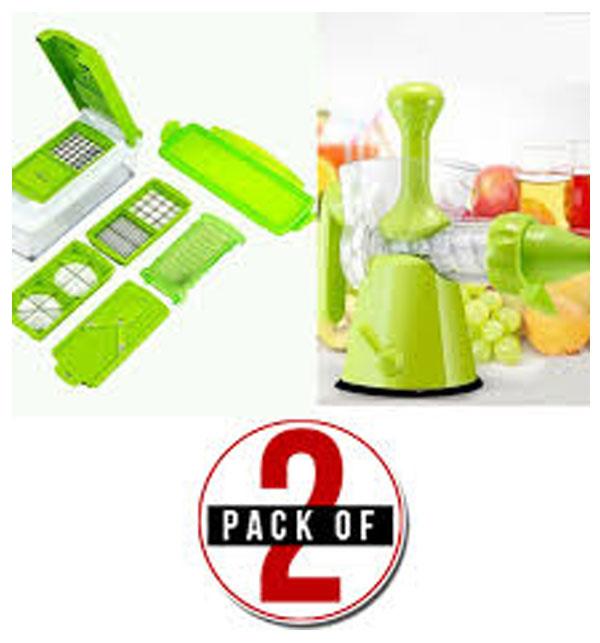 Pack of 2 Nicer Dicer Plus & Multifunction Manual Juicer