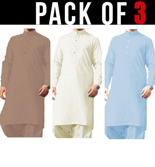 Pack of 3 - Wash n Wear Men's Kameez Shalwar Unstitched (MSK-35), (MSK-25) & (MSK-24)