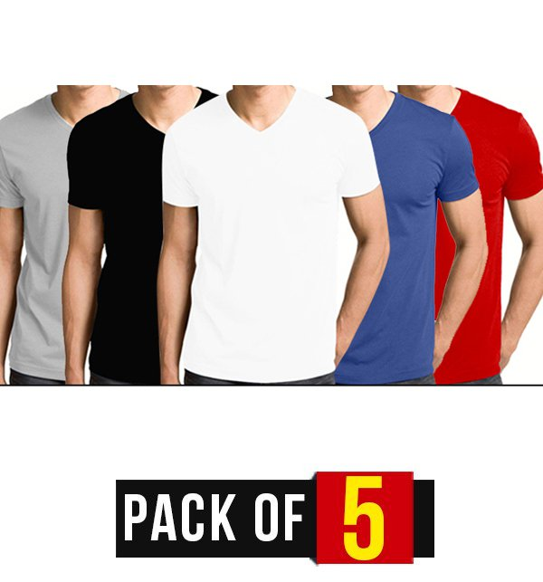 7072097e3364 Pack Of 5 - V Neck T-Shirts Price in Pakistan - View Latest ...
