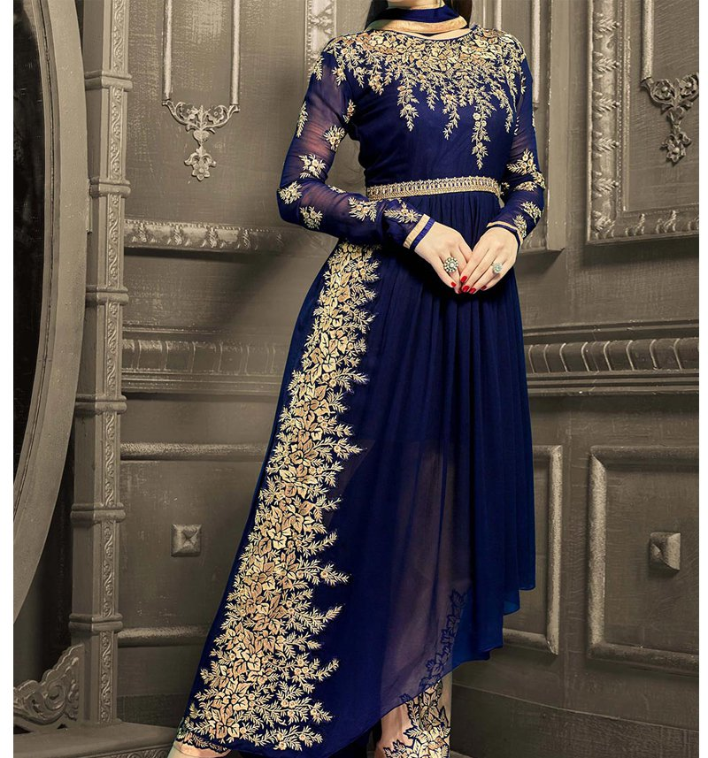 Pakistani Chiffon Suit Embroidered in Royal Blue (CHI-33)