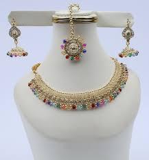 (PAKISTAN DAY SALE) Polki Choker Jewellery Set - Multi (PS-116)