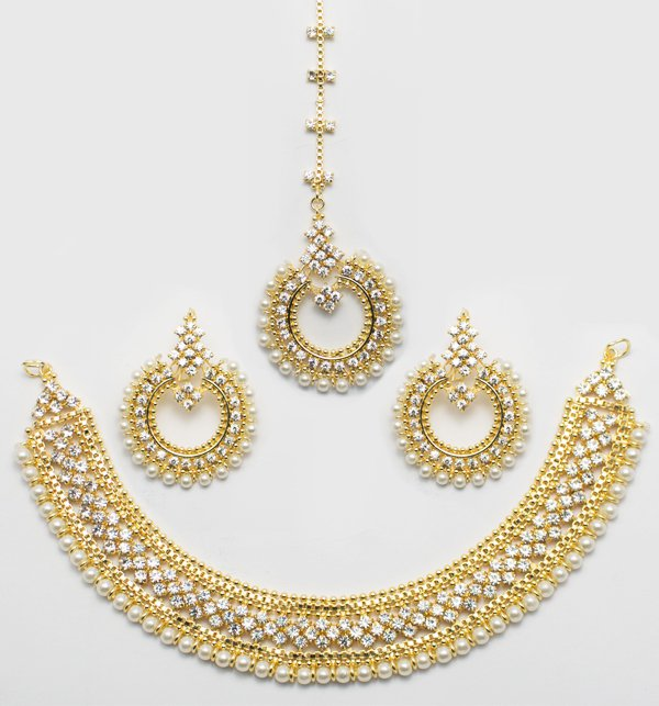 Stylish Gold & Diamond Look Necklace Set (PS-52)