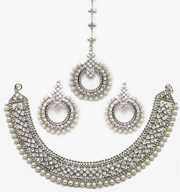 Stylish Silver & Diamond Look Necklace Set (PS-53)
